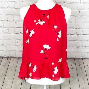 Joie 100% silk red floral blouse